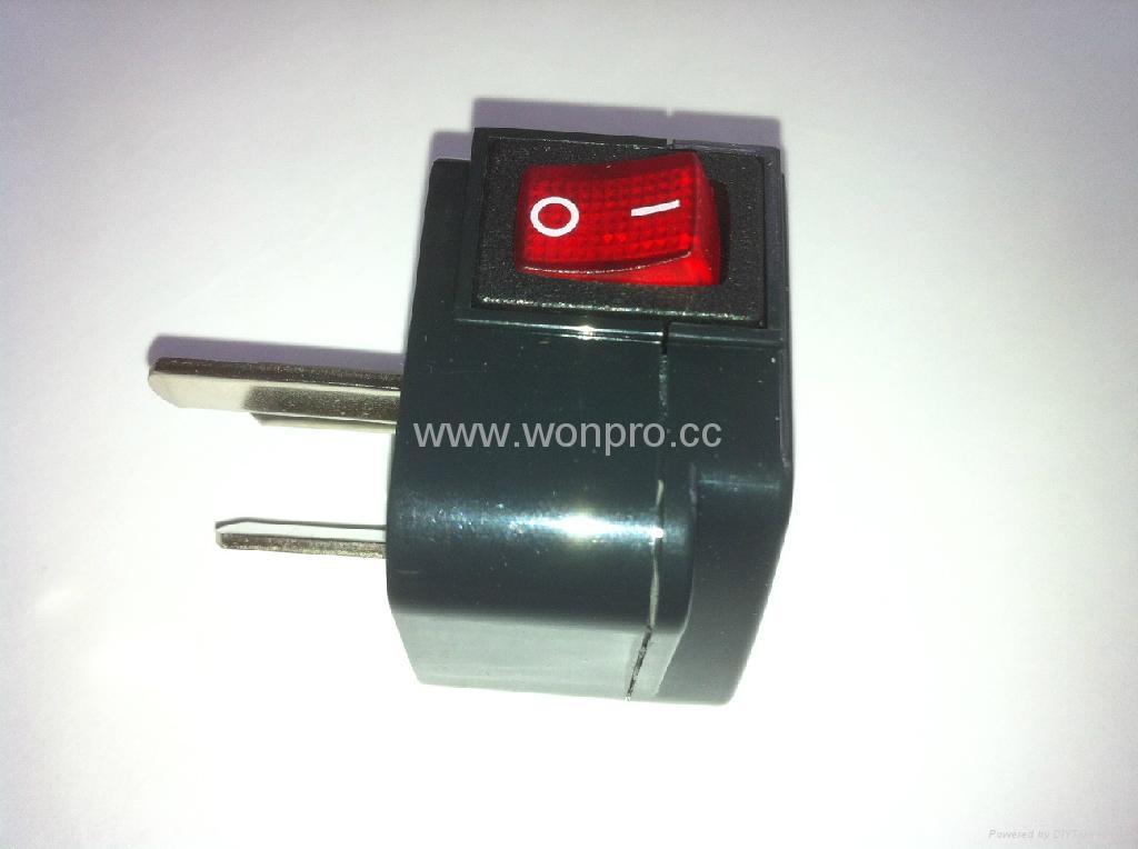 中澳洲式插头转美标插座附开关带灯转换器(WSA5A-16-BK) 4