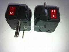 日美式插头转国标阿根廷标澳标插座附开关带灯转换器(WSA7-5-BK)