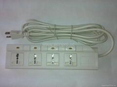 防雷型四位万用安全插座带五位分控开关转换器(排插)