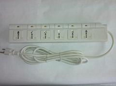 防雷型六位萬用安全插座帶五位分控開關轉換器(排插)