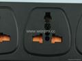 防雷型黑色三位万用插座带保护延长线组合(排插, 中间转换器)