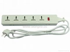防雷型5位萬用插座帶保護延長線組合(排插, 中間轉換器)