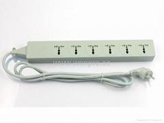 防雷型6位萬用插座帶保護延長線組合(排插, 中間轉換器)