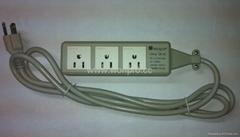 防雷型三位美标插座带夜光指示灯转换器