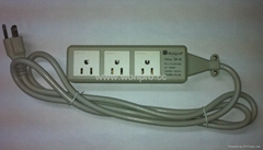 3 gang US socket  extension with indicator