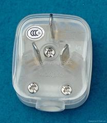 中国3C国标GB二极带接地自配线10A插头白色(WSP-16-W)