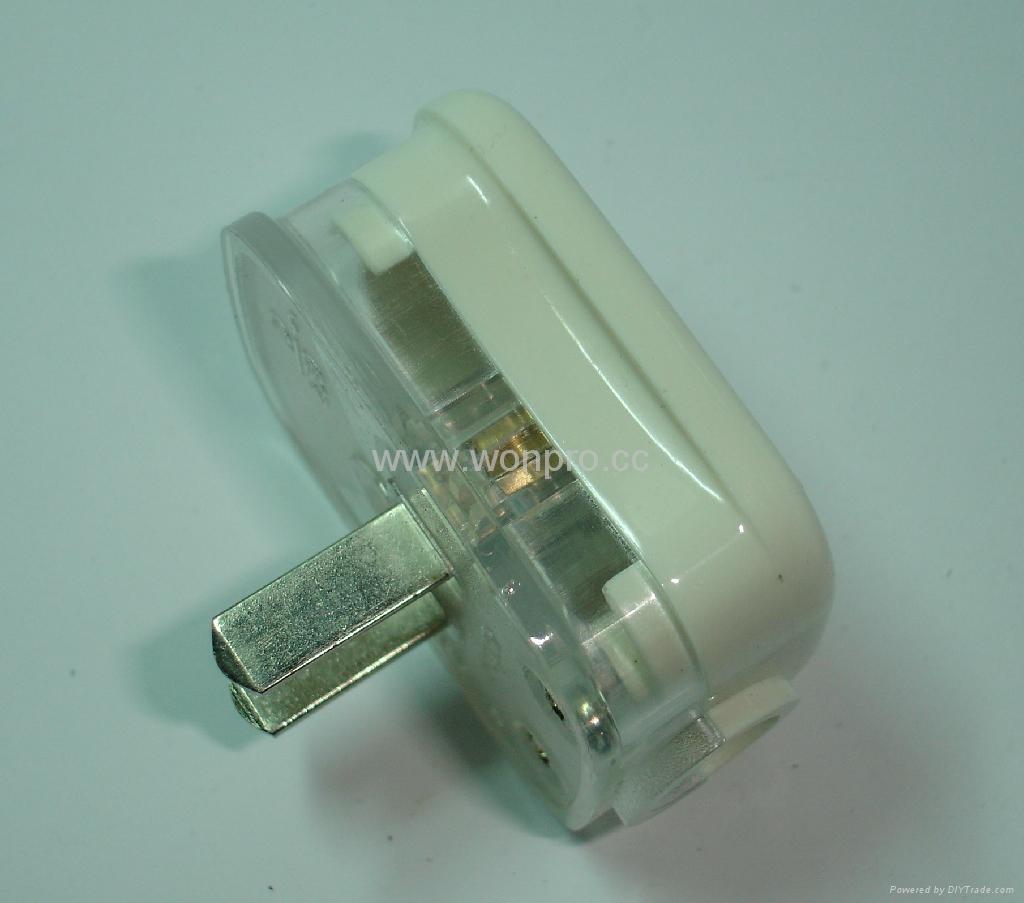 中國3C國標GB二極無接地自配線插頭10A250V白色(WSP-6-W) 5