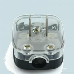 中國3C國標GB二極無接地自配線插頭10A250V黑色(WSP-6-BK)