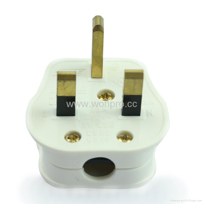 英标二极带接地插头带保险丝13A250V白色(WSP-7-W) 1