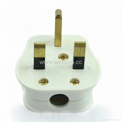 UK, Iraq  Grounded rewiring Plug with fuse 13A250V in white(WSP-7-W)