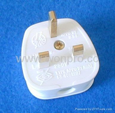 英标二极带接地插头带保险丝13A250V白色(WSP-7-W) 5