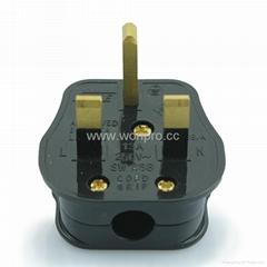 英标二极带接地插头带保险丝13A250V黑色(WSP-7-B