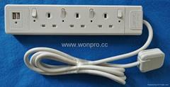 防雷型3位英標插座延長線組合帶2個USB(排插, 中間轉換器)