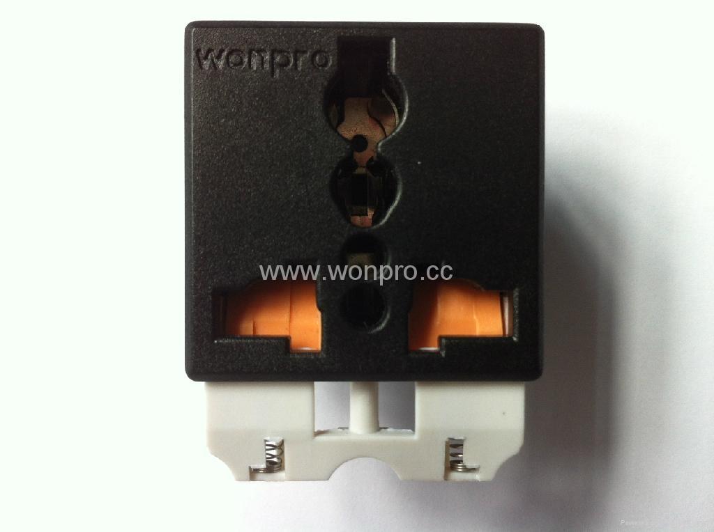 Universal receptacle module with safety shutter in black Orange shutter(R4S-BK) 1