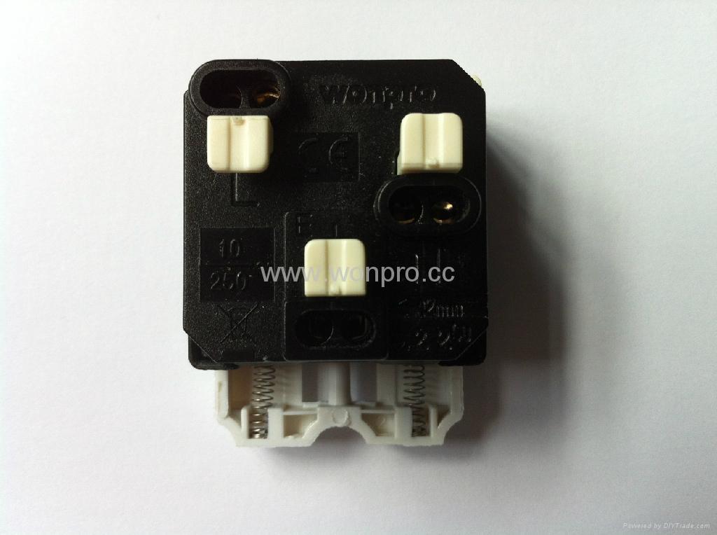 Universal receptacle module with safety shutter in black Orange shutter(R4S-BK) 2