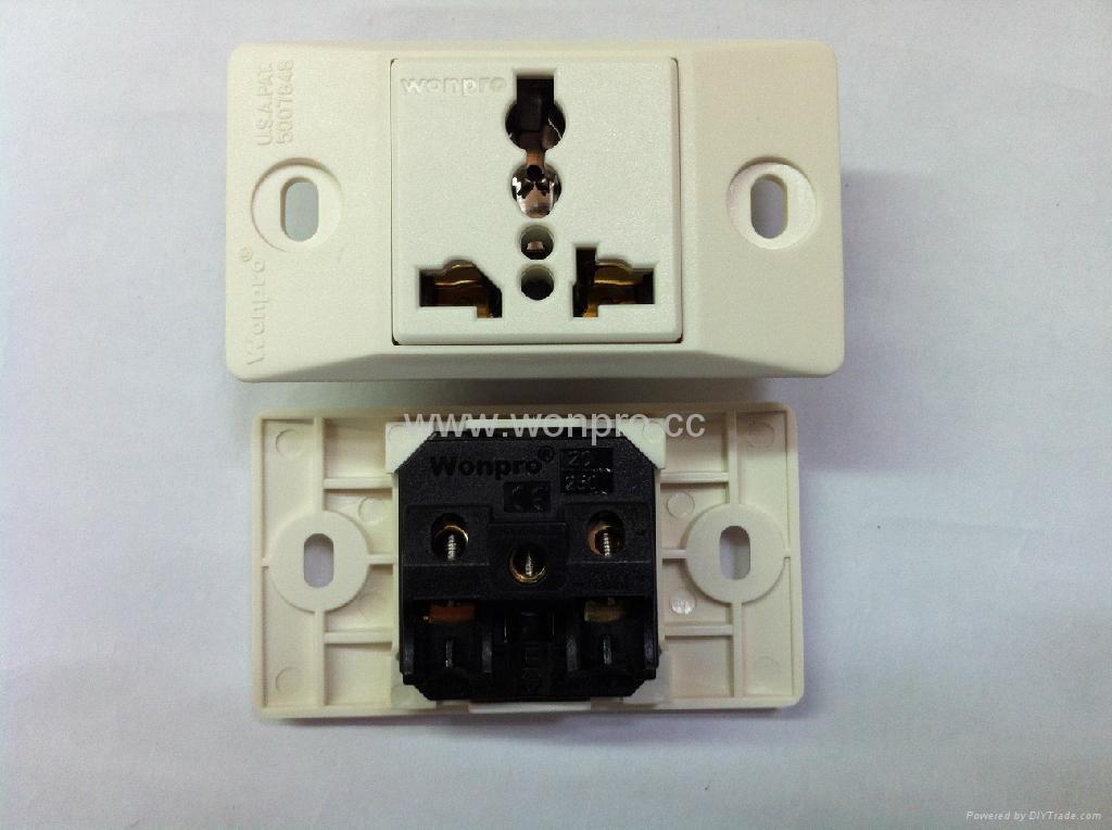 埋入式工业用只适用220V插头一位万用插座(WF-9.1RU4T-W 16A) 2