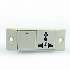 埋入式工业用一位单控开关一位万用插座带锁线螺丝(WF-9.S