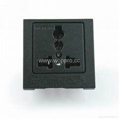 英卡入式工业用一位万用插座黑色(BSF-R4T-BK 16A