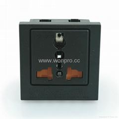 英卡入式一位万用插座带安全门黑色(BSF-R4TS-BK 橘