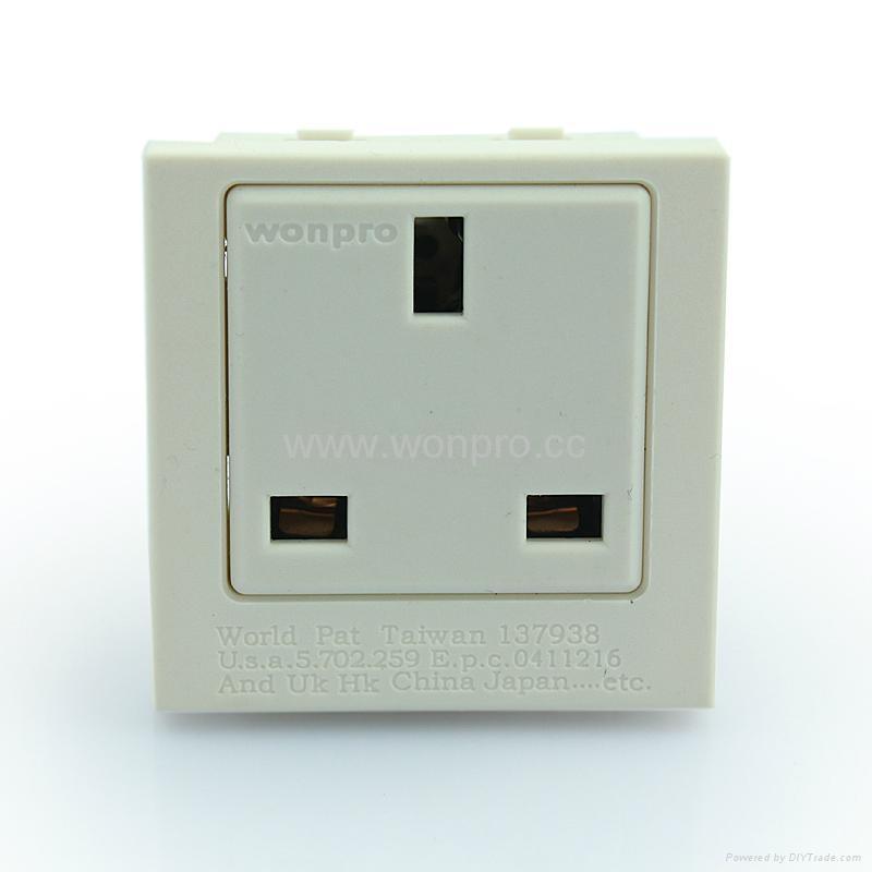 英卡入式工业用一位英标插座2P+E(BSF-R7-W 13A) 1