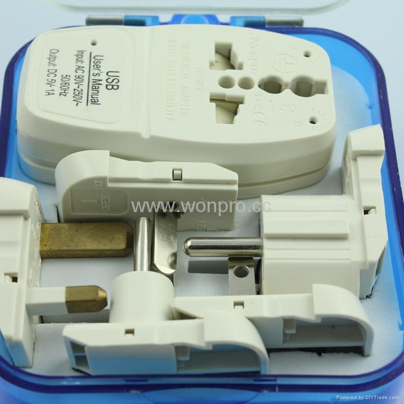 All in One Travel Adapter Kit w/USB charger(ASTDBU-SBvs) 2