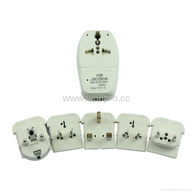 All in One Travel Adapter Kit w/USB charger(ASTDBU-SBvs) 3