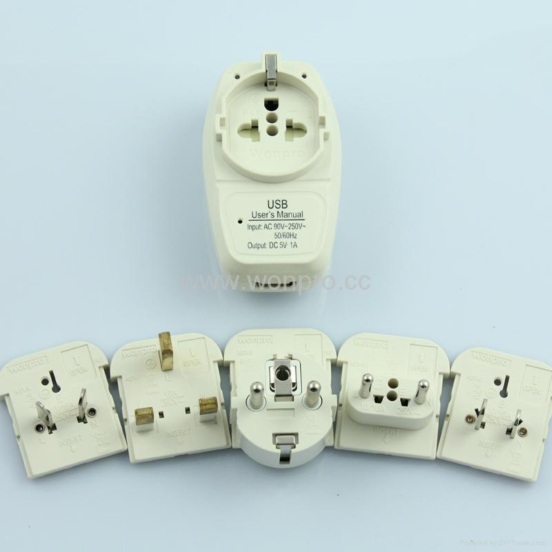 Euro type Universal Travel Adapter Kit w/ USB charger(ASTGFDBU-SBvs) 3
