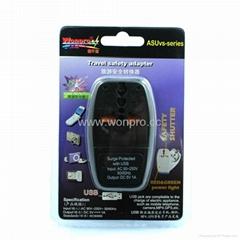英式帶保險絲旅遊轉換器帶USB充電(WASDBUvs-7F-BK)