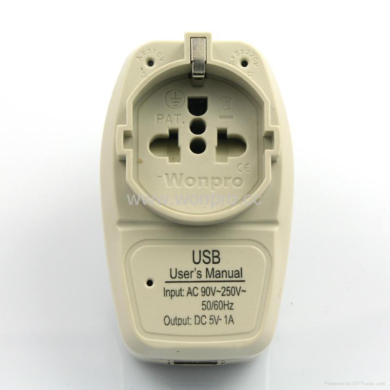 美日式旅游转换器带USB充电(WASGFDBUvs-5-W) 1
