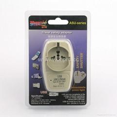 英式旅游转换器带USB充电(WASGFDBU-7-W)
