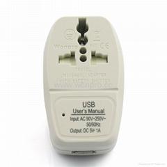 大南非式旅游转换器带USB充电(WASDBU-10L-W)