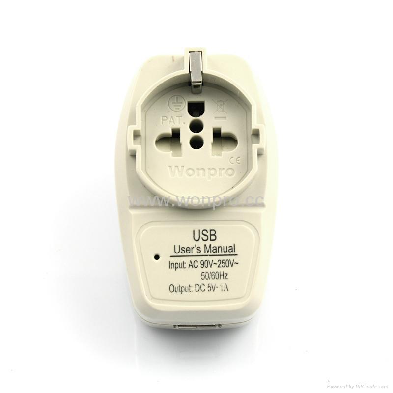 China, Australia Euro-Universal Travel Adapter with USB charger(WASGFDBU-16-W)  1