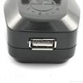 英式带保险丝旅游转换器带USB充电(WASDBU-7F-BK) 2