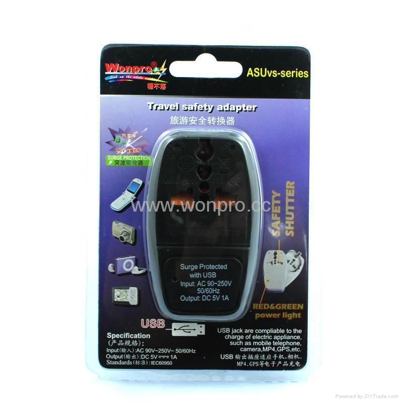 UK, Iraq  Grounded Universal Travel Adapter with USB charger(WASDBU-7F-BK) 1