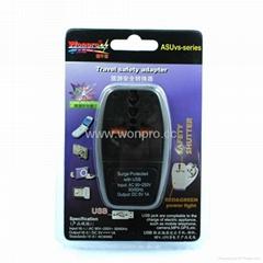 英式带保险丝旅游转换器带USB充电(WASDBU-7F-BK)