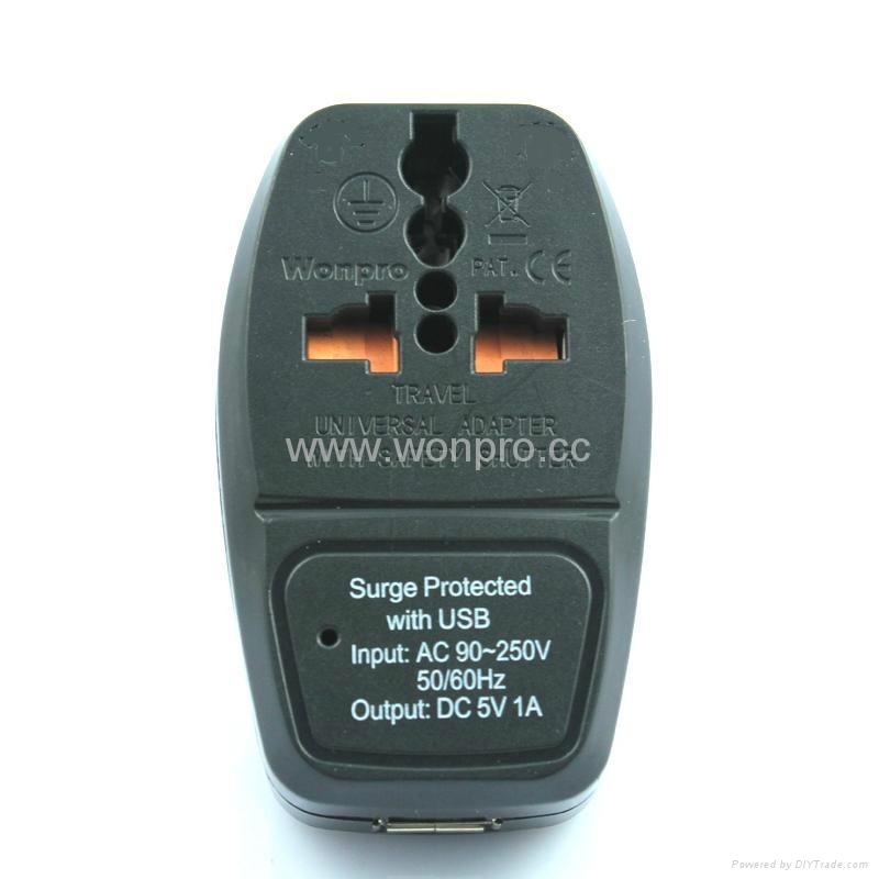 英式带保险丝旅游转换器带USB充电(WASDBU-7F-BK) 5