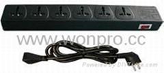 防雷型黑色万用插座带保护延长线组合(排插, 中间转换器)