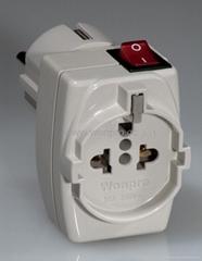 歐規多功能子母轉換器附有開關帶燈(WSAIIGF系列)