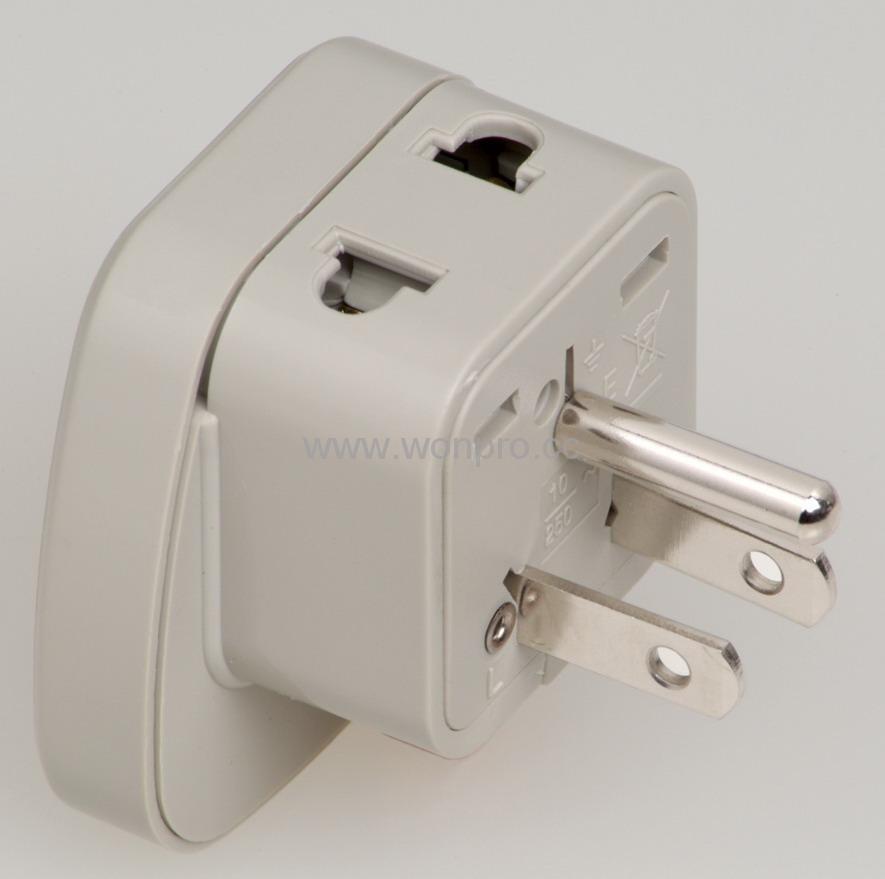 欧洲万用旅游转换器附有二脚万用插座(WASGFDB系列) 2