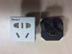 中國3C國標GB二三極組合插座帶保護門(R16BDS-W)