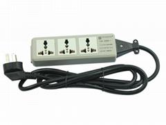 防雷型三位万用安全插座带夜光指示灯转换器 排插