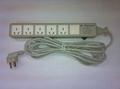 防雷型5位国标三极插座转换器带4M电源线