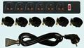 防雷型黑色6位万用插座带保护延长线组合 排插 中间转换器