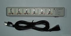 防雷型六位萬用安全插座帶一位CBS開關轉換器(排插)