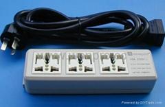防雷型三位萬用安全插座/+L型插座帶夜光指示燈轉換器(排插)