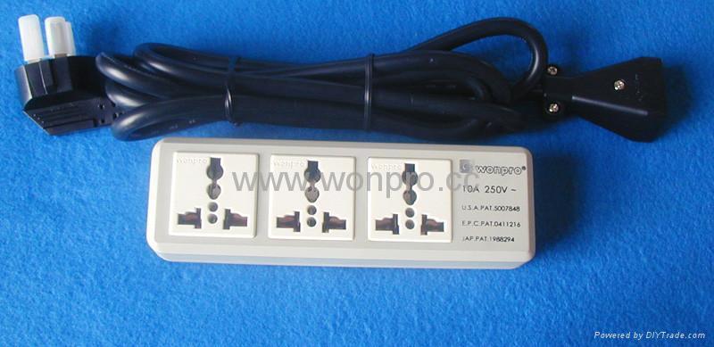 防雷型三位万用安全插座/+L型插座带夜光指示灯转换器(排插) 2