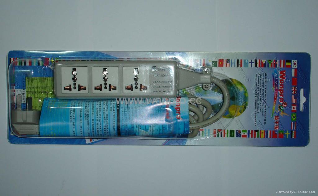防雷型三位万用安全插座/+L型插座带夜光指示灯转换器(排插) 4