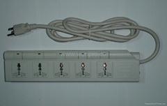 防雷型五位萬用安全插座帶五位分控開關轉換器(排插)
