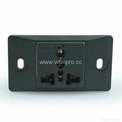 埋入式工业用一位多用途插座黑色(WF-9.1R4-BK)