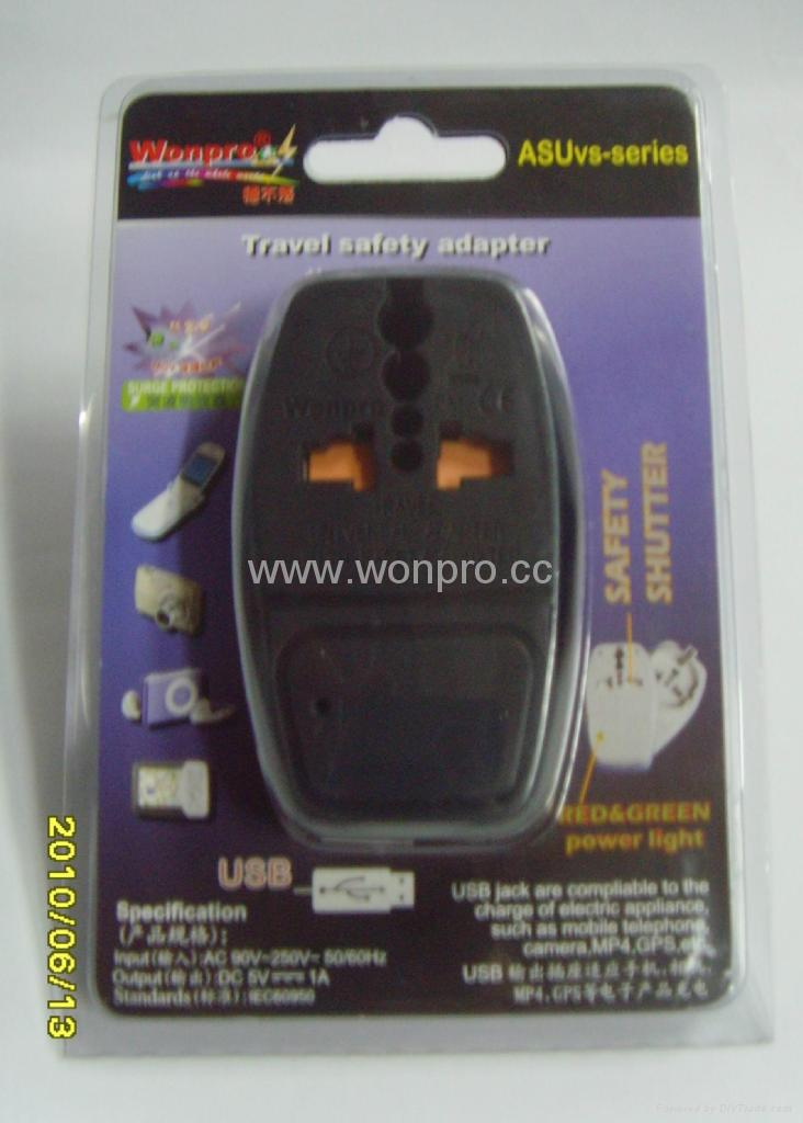 Country Universal Travel Adapter with USB charger(WASDBU series)  2